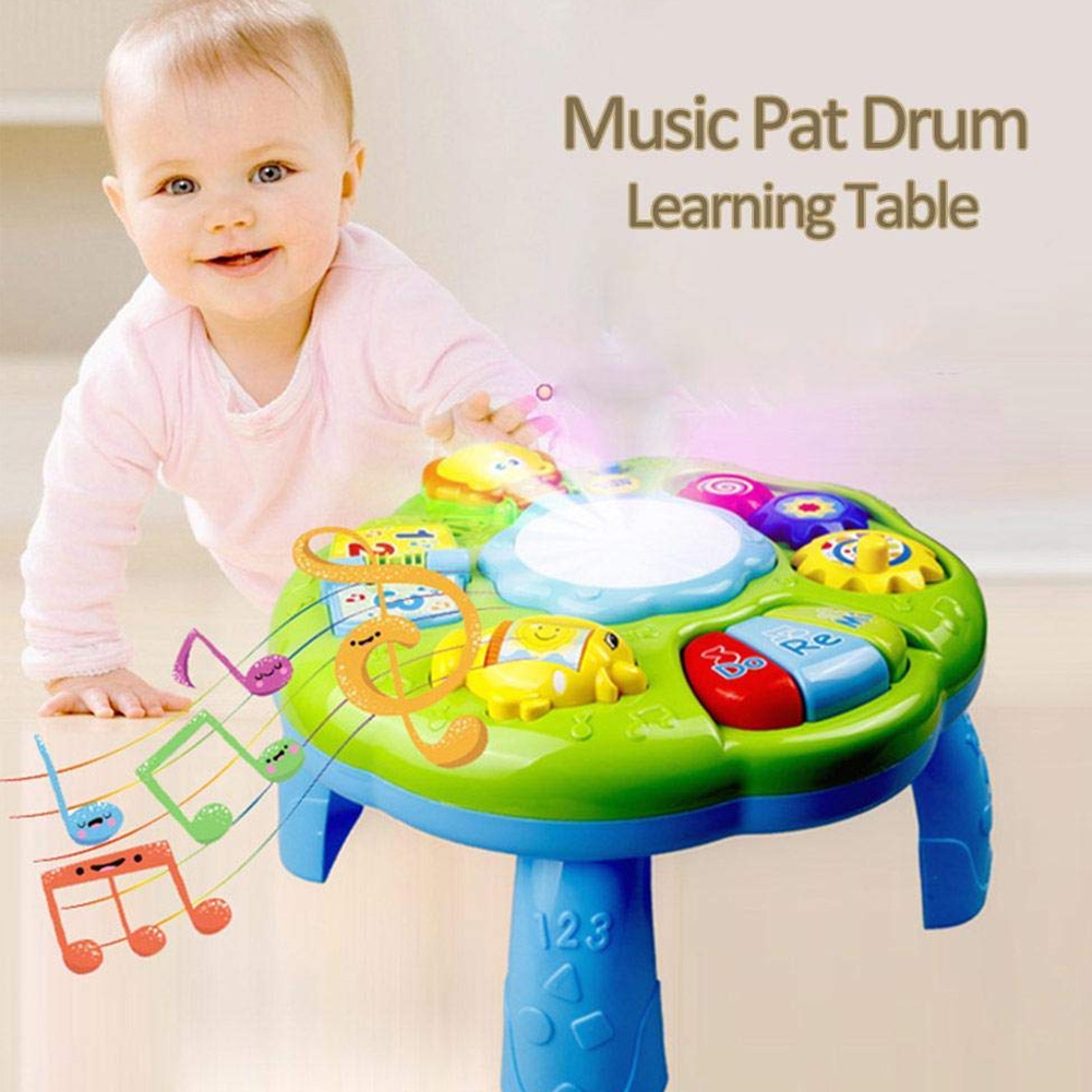 Pre Educational Learning Activity Table Baby Toys Educational Musical Table Toys With Piano Pat Drum Light Up For Baby Infants Choice Materials Home