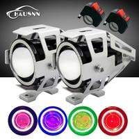 2pcs With Switch Waterproof 125W Cree U7 LED Car Motorcycle Headlight Led DRL Fog Light Spot