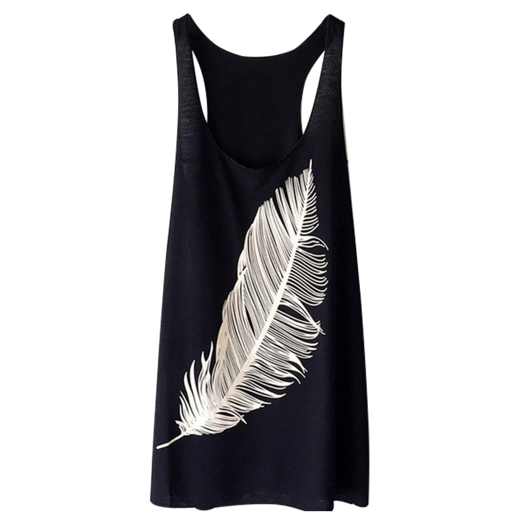 Women 39 s Feather Print Vest Sexy Bottoming Shirt Large Size Sleeveless Summer Sweatshirt tops woman clothes Cotton streetwear in Tank Tops from Women 39 s Clothing