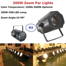 8Pcs LED Par Light COB 200W Warm White / Pure Aluminium Shell Lights Stage Wash Strobe Effect Free Shipping