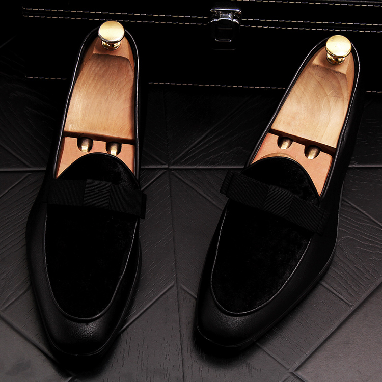 2019 Men Brand Dress Loafers Shoes Bow Tie Slippers Gentlemen Wedding Flats Casual Slip on Black+Red Suede Flats Shoes 18