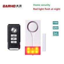 Darho 433MHz Alarm bezpieczeństwa w domu czerwony błysk z dźwiękiem okno magnes na drzwi czujnik bezprzewodowy System alarmowy + pilot
