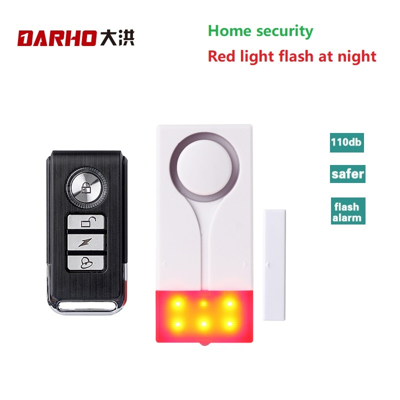 Darho 433MHz Home Security Alarm Red Flash With Sound Window Door Magnet Sensor Detector Wireless Alarm System+Remote Controller