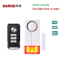 Darho 433MHz di Allarme di Sicurezza Domestica Rosso Flash Con Il Suono per Porte E Finestre Sensore Magnetico Rilevatore di Sistema di Allarme Senza Fili + Telecomando controller