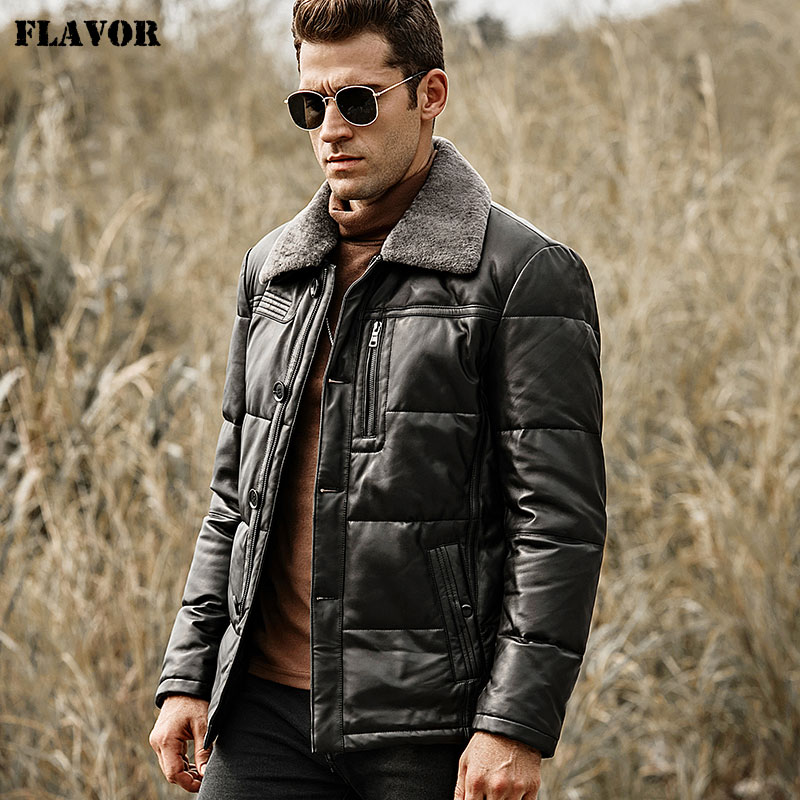 Image 4 - FLAVOR Men's Duck Down Leather Jacket Men Lambskin Genuine Leather Jacket Winter Warm Down Coat with Removable Sheep Fur Collar-in Genuine Leather Coats from Men's Clothing
