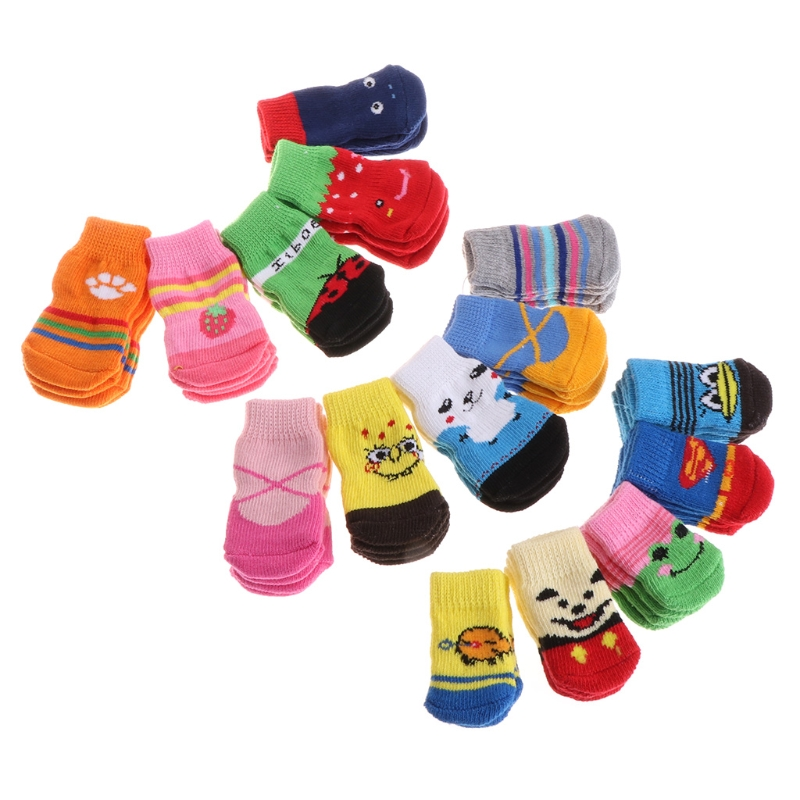 New On Sale 1 Set Pet Socks Blend Cotton Cute Dog Puppy Cat Non Slip Soft Warm Winter Shoes