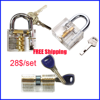 Free shipping transparent practice lock with Transparent AB Kaba crescent lock tools with blade lock practice lock set