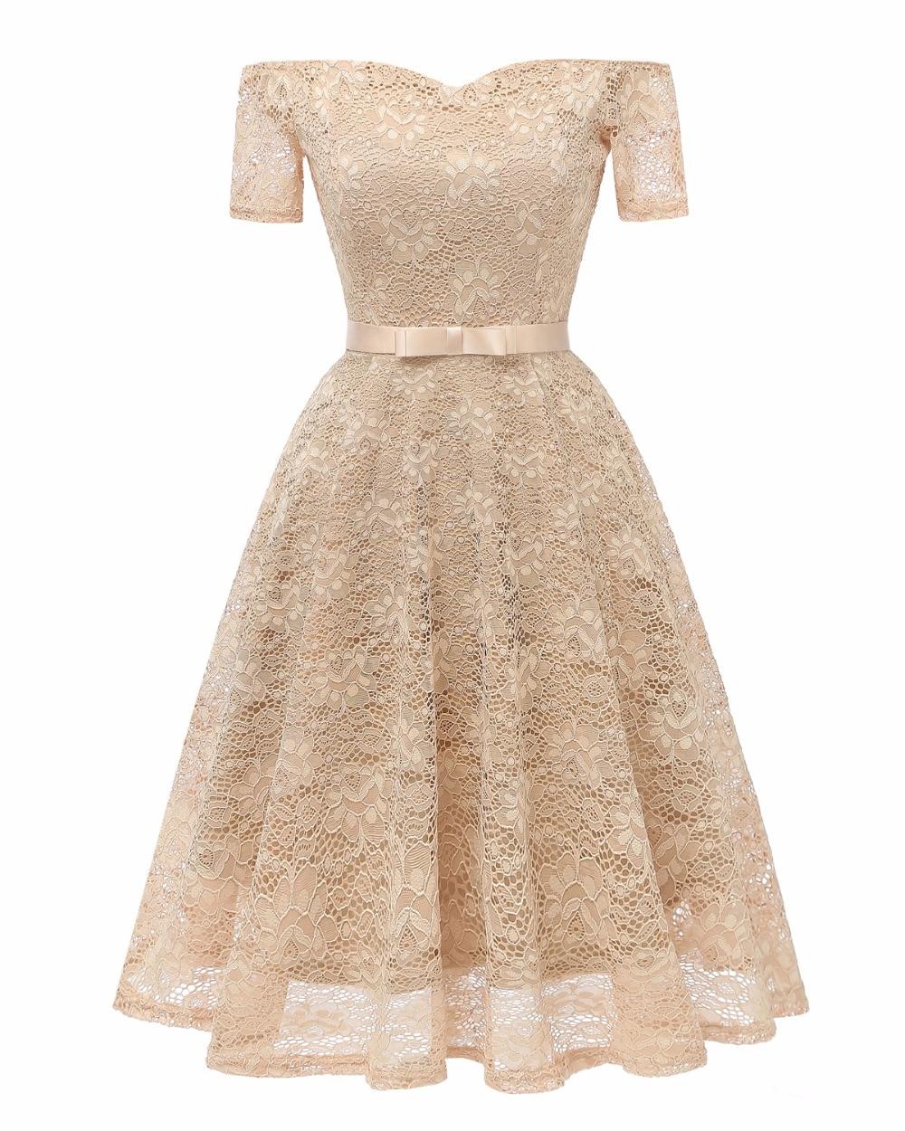 Female summer dress 2018 Off the Shoulder sweetheart Neck Retro Vintage 50s 60s Elegant Dress Lace Sexy vestidos de fiesta