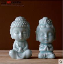 Little ceramic buddha statue figurine home decor crafts room decoration kawaii ornament porcelain figurinesgift
