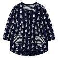 Nova marca meninas, vestidos de algodão estampado longo-manga com bolso, filho no próximo estilo de roupa, outono crianças roupas casuais (1-7 anos)