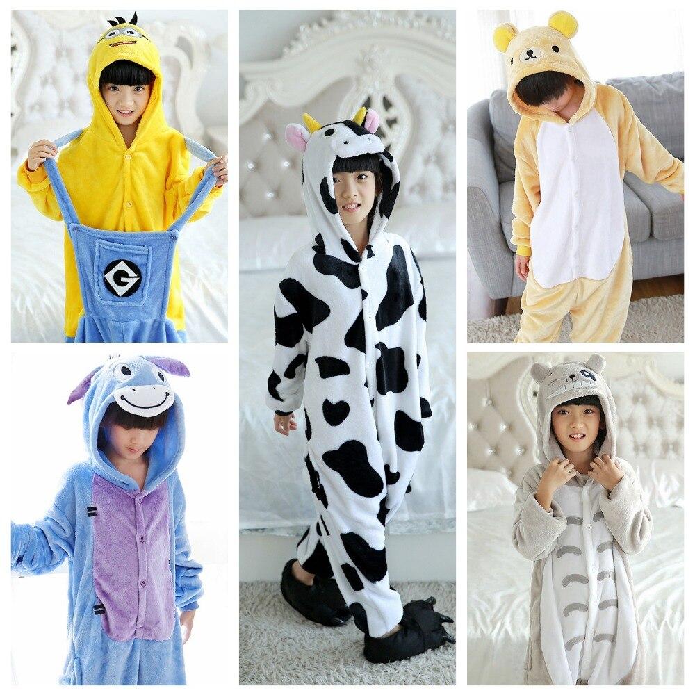Kids Sleepwear Cute Pajamas Onesie Kids Girls Boys Clothes Cartoon Cow High Quality Sleepwear Costume Pyjama Sleepers 3-8Y