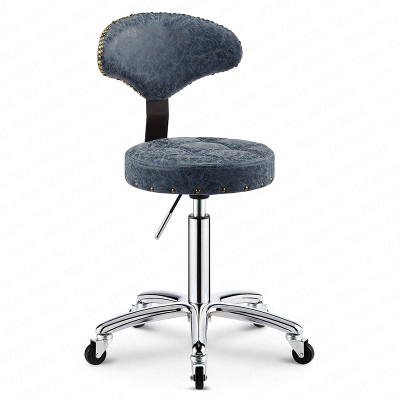 27%Beauty Stool Lift Rotating Back Chair Barber Chair Retro Pulley Stool Master Chair Home Makeup Stool
