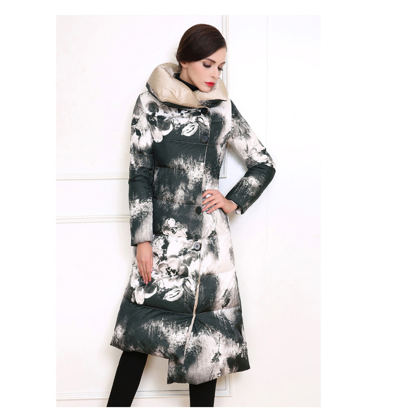 Plus Size 2016 New Fashion Winter Long Sleeve Ink Painting Thicken Asymmetrical Long Coat Down Cotton