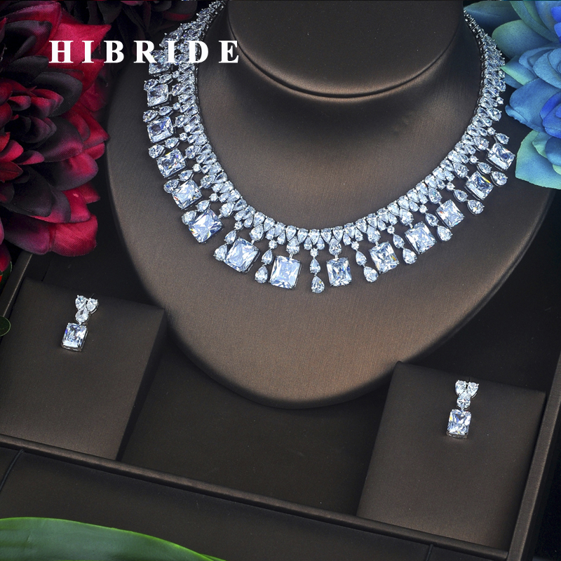 HIBRIDE New Design Square Cubic Zircon Around Necklace Earrings Sets Classic Women Wedding Bridal Jewelry Set