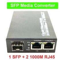 SFP волоконный медиаконвертер в RJ45 гигабитный медиаконвертер SFP 2*10/100/1000 м Ethernet конвертер приемопередатчик волоконно-оптический коммутатор