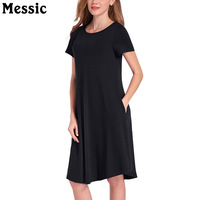 Messic Casual Short Sleeve A Line Dress Women 2018 Autumn Round Neck Ladies T Shirt Dresses