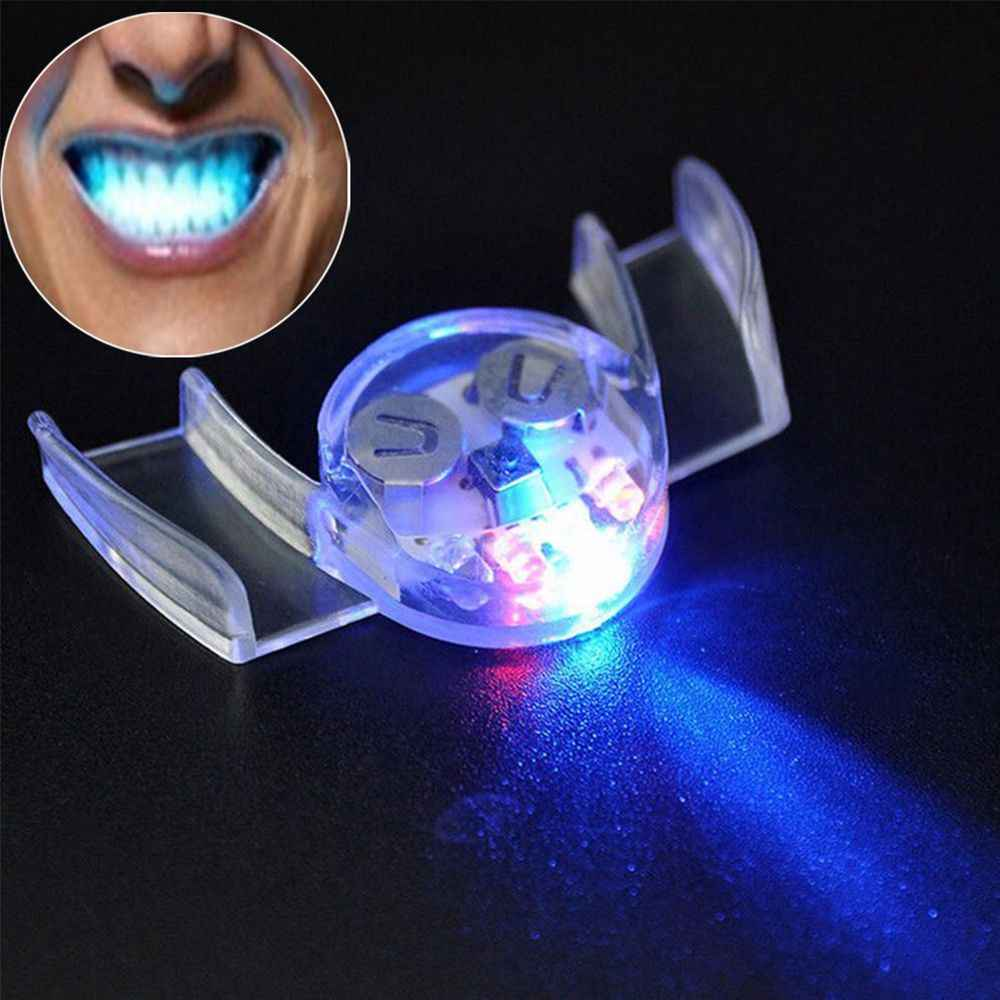 Hot Novelty Glow Tooth LED Flashing Light Toy Flash Guard Brace Mouth Piece Kids Children Light-up Toys Festive Party Supplies