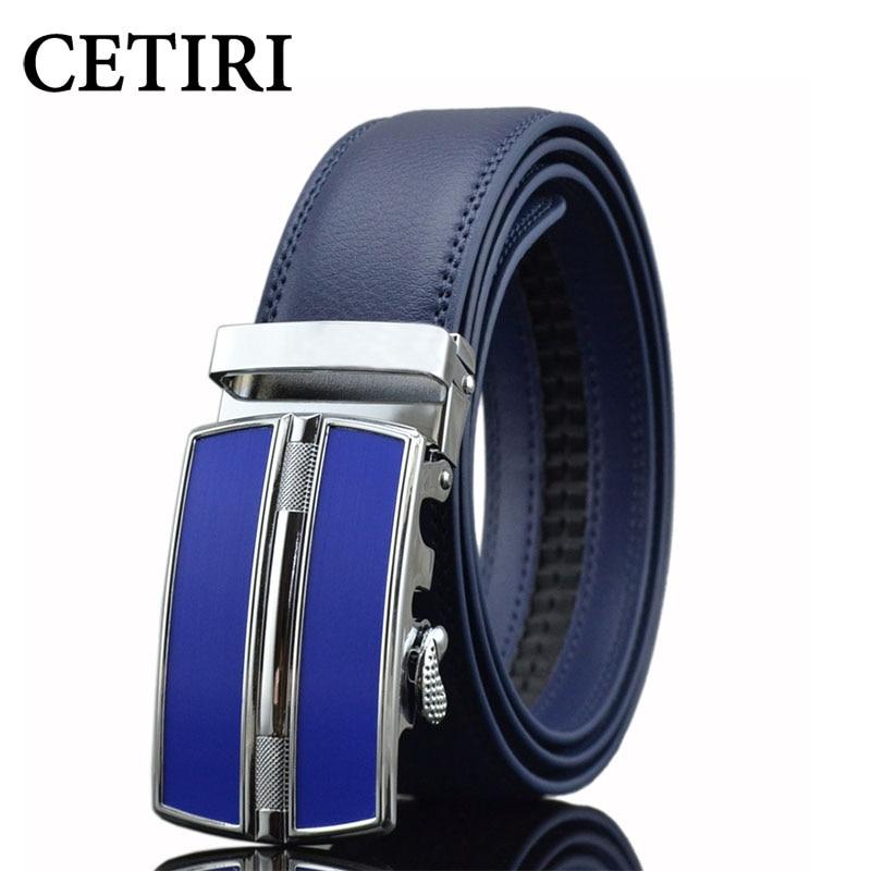 CETIRI Blue Red Orange White Black Brown Sliding Buckle Ratchet Strap Male Designer Belts For Men Genuine Leather Belts