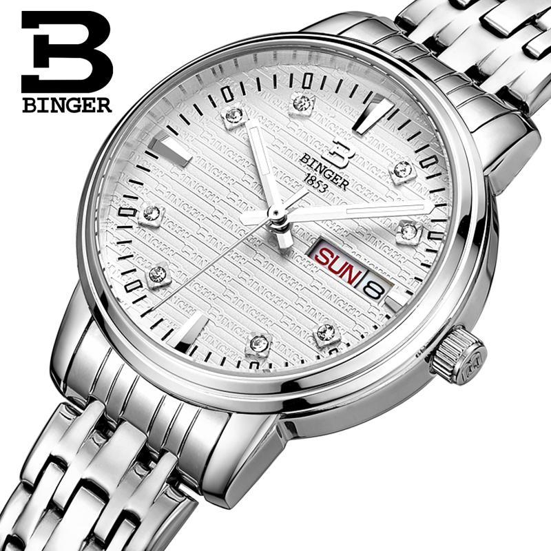 スイス深酒をする人の女性のファッションの高級腕時計超薄型クォーツ glowwatch フルステンレス鋼腕時計 B3036G  グループ上の 腕時計 からの レディース腕時計 の中 3