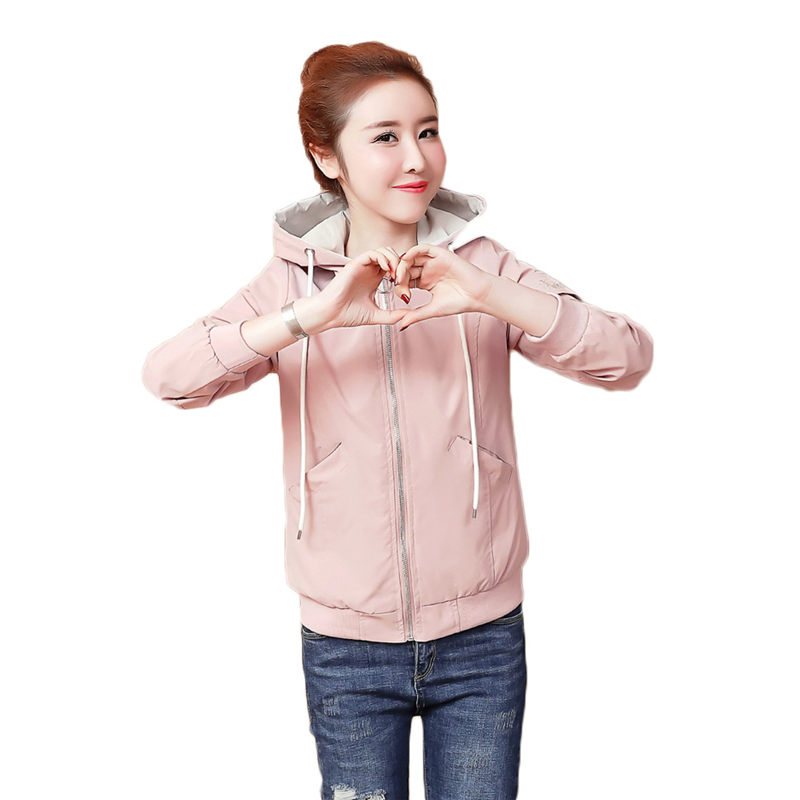 Capuche broderie veste femmes printemps 2019 nouveau décontracté manteau femme coréenne Zipper manches longues lâche kurtki damskie f274