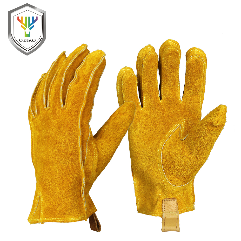 OZERO Work Gloves Stretchable Tough Grip Leather For Utility Work Construction Wood Cutting Cowhide Gardening Gloves 2010