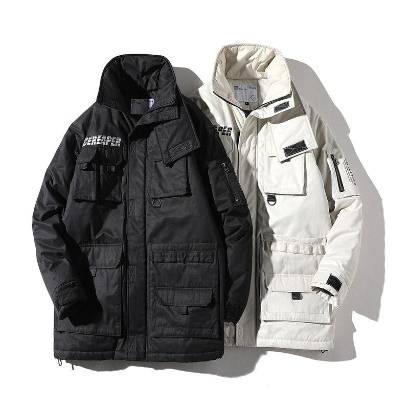 남성 겨울 새로운 스탠드 칼라화물 파카 재킷 남성 캐주얼 면화 패딩 코트 streetwear 긴 따뜻한 생각 재킷 외투-에서파카부터 남성 의류 의  그룹 1