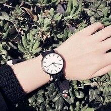 Señora regalo simple pretty girl reloj Enmex correa del cordón venda de reloj moda de vanguardia raya reloj de cuarzo estilo reloj