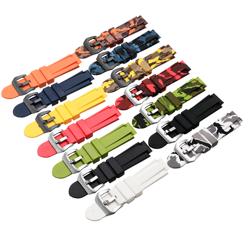 Quality silicone watchband 24*16mm colorful wristband Replacement rubber strap For Timex T2N739 T2N721 720