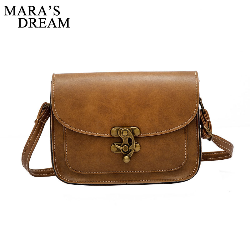 Maras Dream 2019 Vintage PU Leather Women Bag Fashion Lock Small Women Messenger Bag Single Strap Shoulder Bag Crossbody BagsMaras Dream 2019 Vintage PU Leather Women Bag Fashion Lock Small Women Messenger Bag Single Strap Shoulder Bag Crossbody Bags