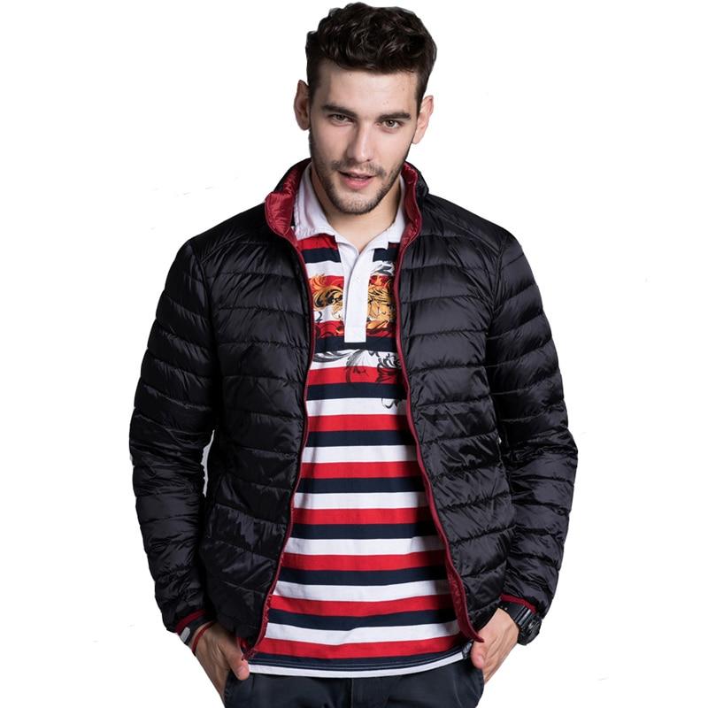 Winter Men Coat Double Side Down Jacket 2019 New Casual 90% White Duck Down Coat Waterproof Reversible Down Parkas Windbreaker