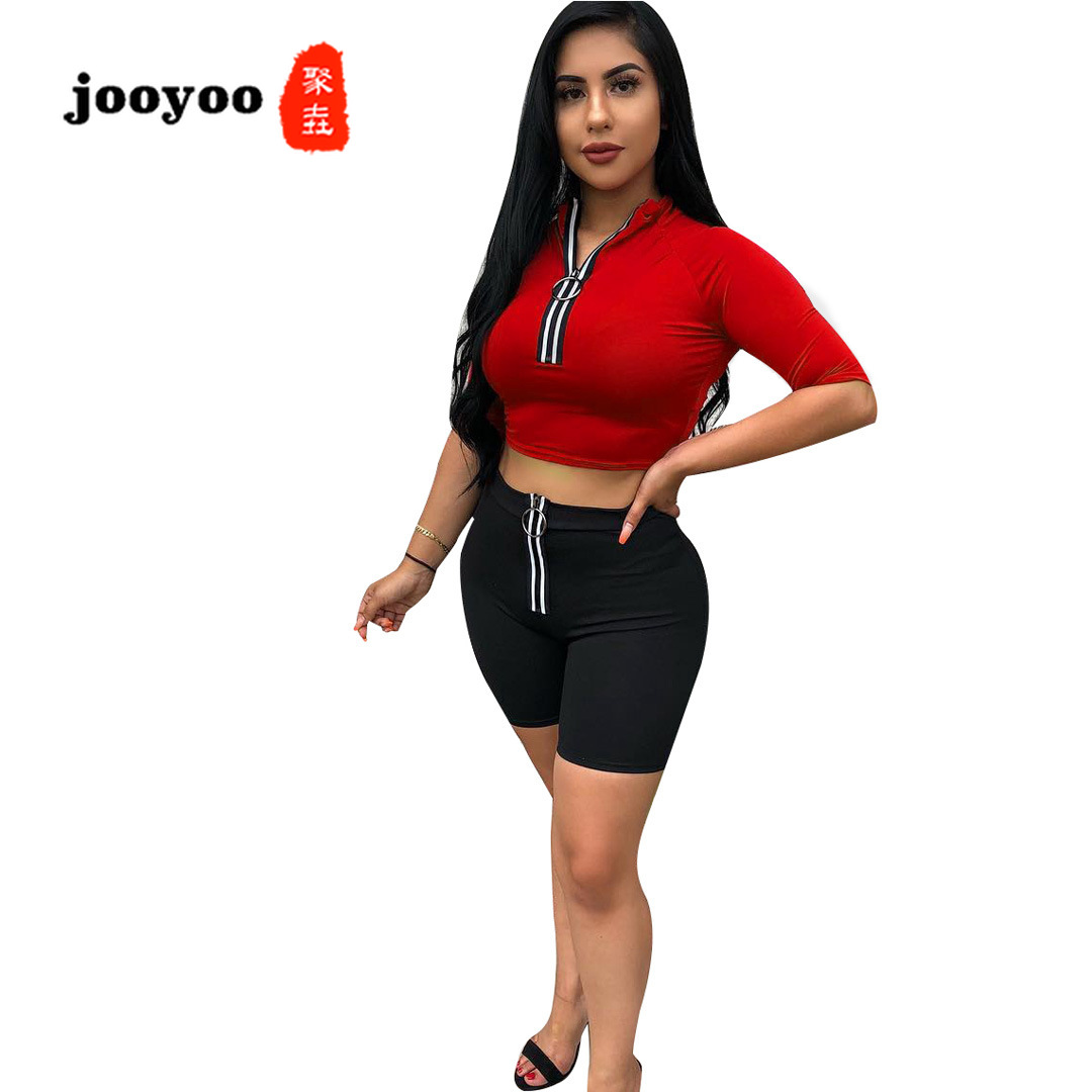 Summer Hot Women's Solid Color Sleeves Reflective Zipper Pants Suit Two Piece Set Top and Pants Women Outfits Two Piece Sets
