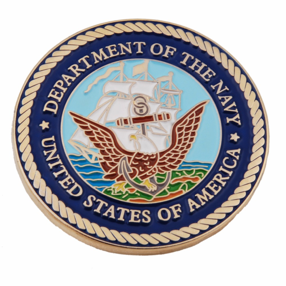 US MILITARY DEPARTMENT OF THE NAVY METAL PIN BADGE