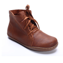 (35-42)Women Ankle Boots Hand-made Genuine Leather Woman Boots Spring Autumn Square Toe lace up Shoes Female Footwear