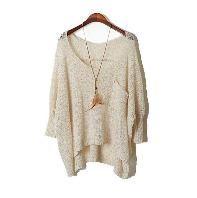 0d417ea1e1664 Tops Autumn Long sexy ripped Sweaters 2019 Batwing Sleeve knitted tricot  Cheap Wool Sweaters Jumper Female summer pullover CH423-in Pullovers from  Women s ...