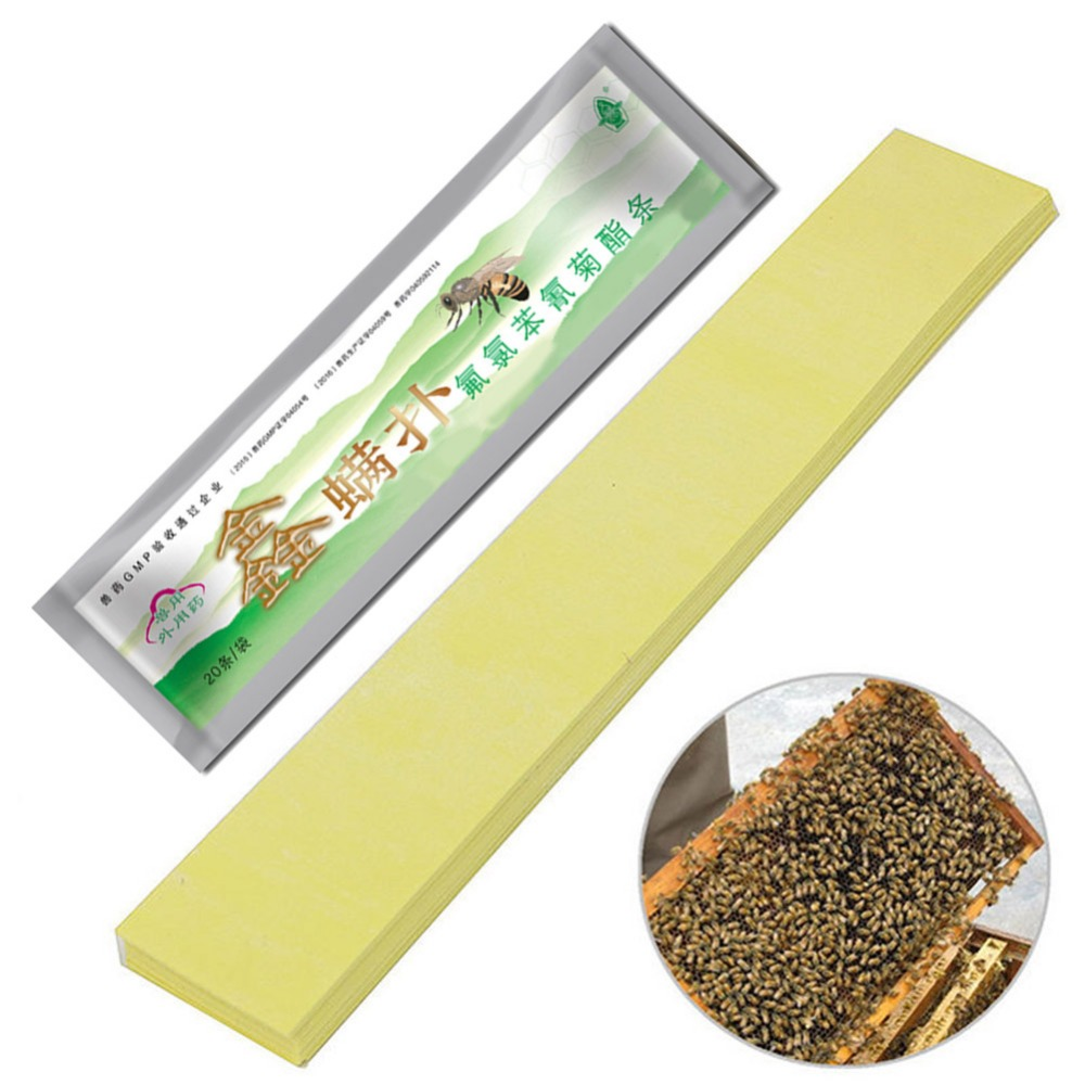 20Pcs/set  Fluvalinate Strips Anti Insect Pest Controller Instant Mite Killer Miticide Bee Medicine Mite Strip hot selling-in Beekeeping Tools from Home & Garden