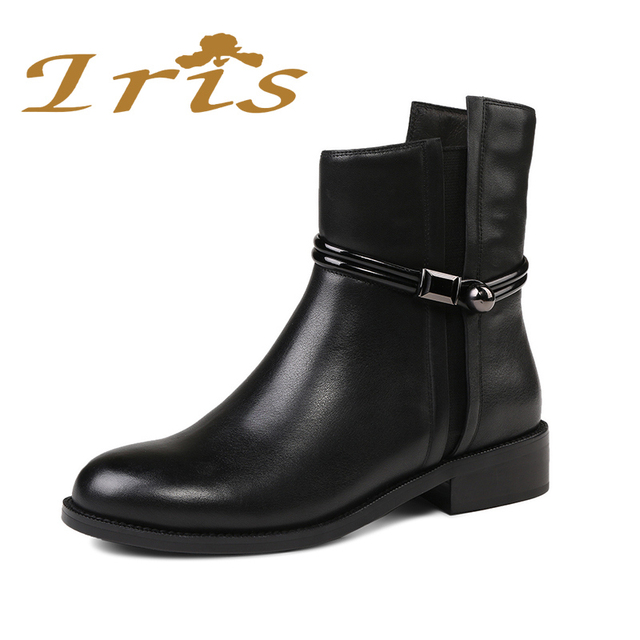dc582ecbd50f IRIS Flat Black Ankle Boots For Women Genuine Leather Short Boots Women  Female Fashion Low Heel Hademade Ladies Booties 2017 New