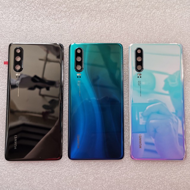 New Original Tempered Glass Back Cover For Huawei P30 Spare Parts Back Battery Cover Door Housing + Camera frame