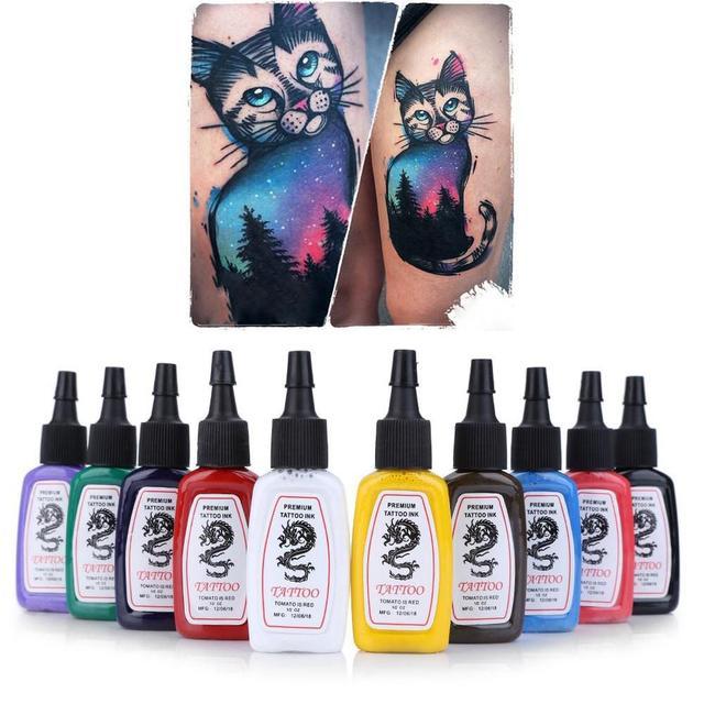 10 Cores Brilhantes pçs/set Duração Completa Do Tatuagem Pigmento Da Tinta Kit Sobrancelha Lip Tintas Tinta Maquiagem Permanente Para Tatuagens de Henna corpo
