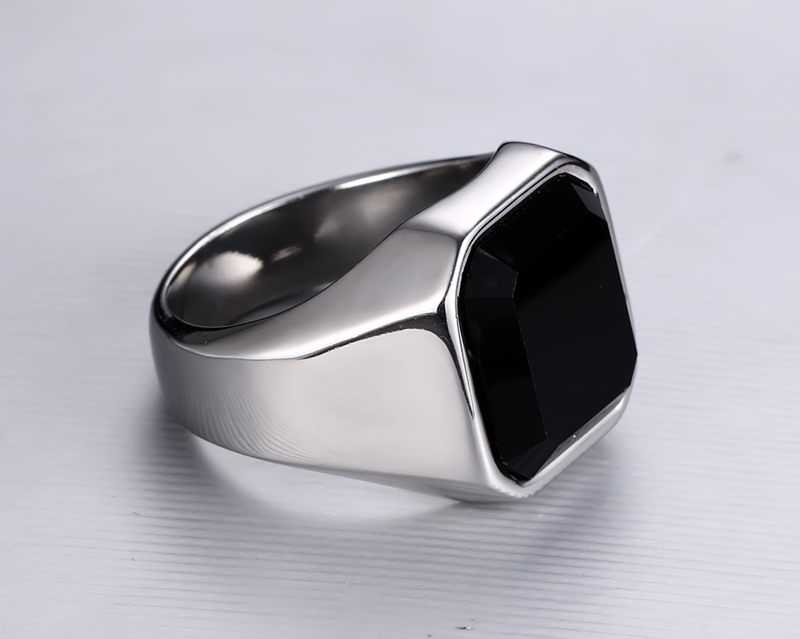 Meaeguet Black Stone Ring For Man Stainless Steel Man\'s Vintage ...