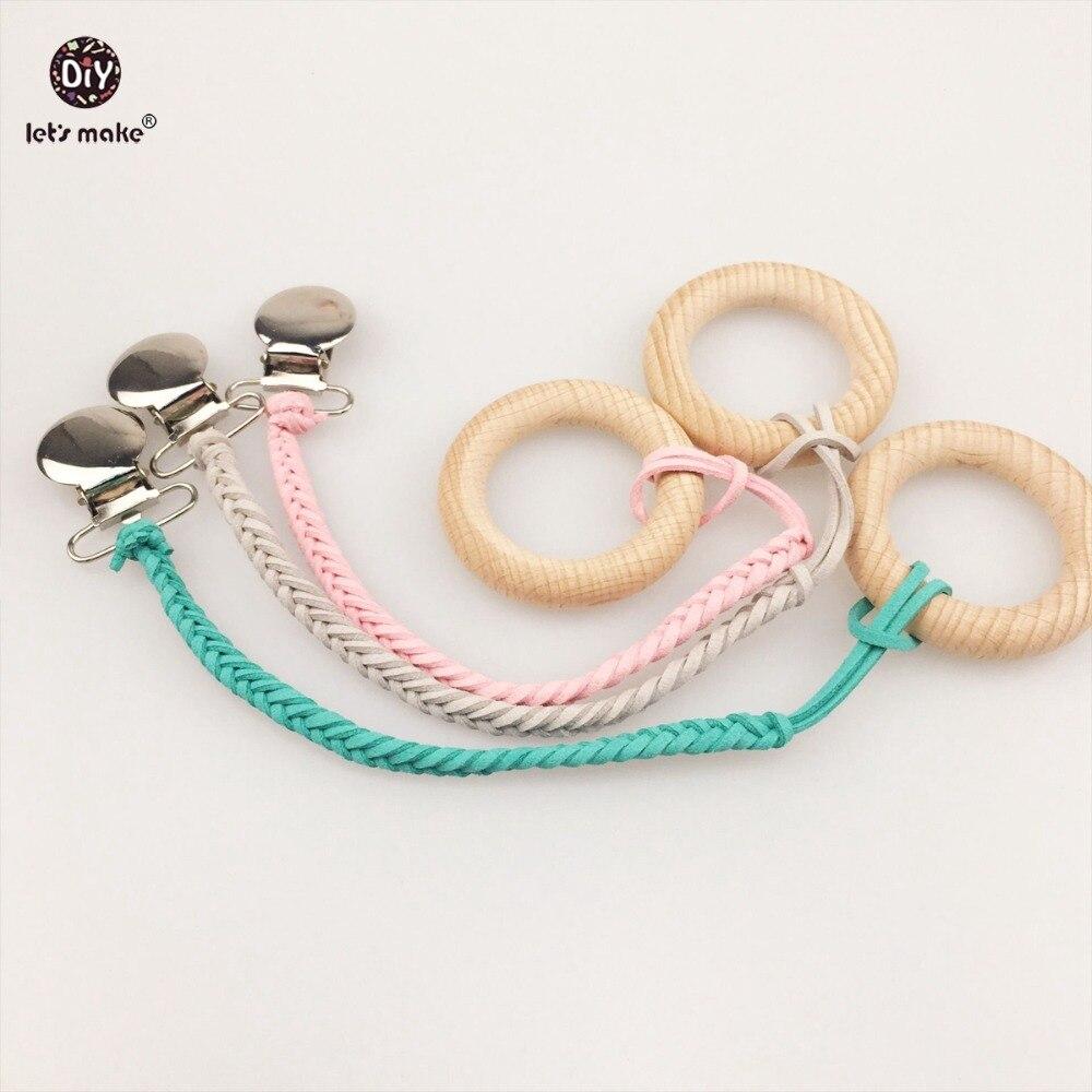 Давайте сделаем Детские плетеные Соски клип 3 шт. деревянные кольца, Дерево DIY безопасный для детейs Jewelry нейтральный Подвески