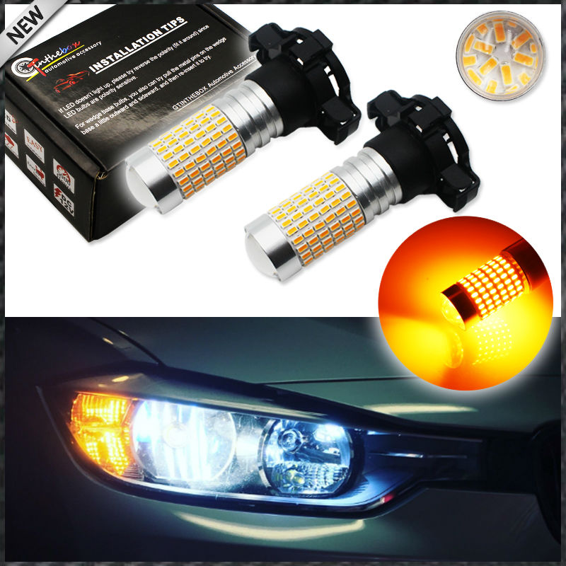 (2) Amber yellow 144-SMD CAN-bus PY24W 5200s LED Replacement Bulbs For BMW 3 4 5 Series X5 X6 Z4 Front Turn Signal Lights ijdm amber yellow error free bau15s 7507 py21w 1156py xbd led bulbs for front turn signal lights bau15s led 12v