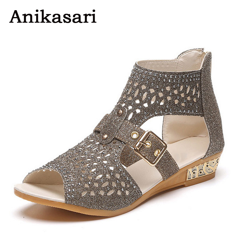 Summer Shoes Woman Crystal Sandals After the Zipper Bing Womens Sandals Woman Wedges Peep Toe Women Low Heel Shoes Size 36-40