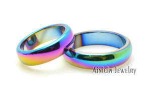 Image 4 - 50pcs Rainbow Color Plated Hematite #6~#10 Ring For Man and Women Fashion Party Jewelry