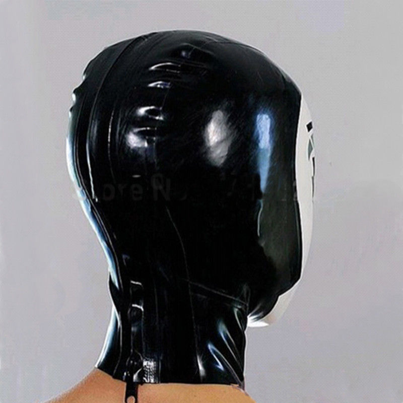 Full Cover Latex Hood Handmade Drama Cosplay Maid Mask Rubber Club Wear Costume