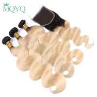 MQYQ Ombre Russian Body Wave Human Hair Weave Bundles with Lace Closure 1b 613 Blonde Remy Hair Weave 3 Bundles with Closure