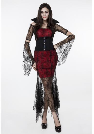 Voorkeur Vrouwelijke godin fairy spider zwart vampier jurk Halloween @UN97