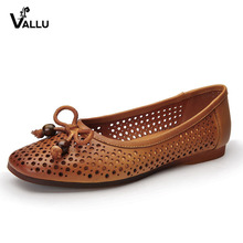 VALLU Spring Summer Shoes Women Flats Genuine Leather Handmade Bowknot Square Toes Hollow Out Comfort Ladies Ballet Flat Shoes