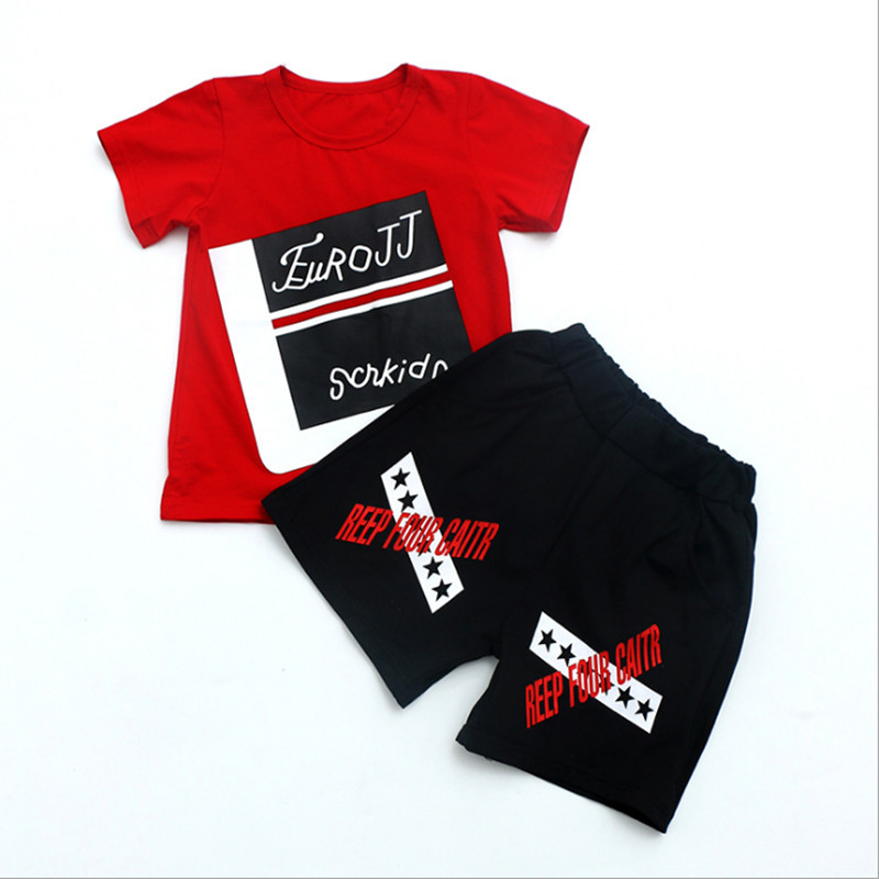 Boys set 2018 Summer New Features Print Large children Loose Short-sleeved shorts Boy Cotton Two-piece