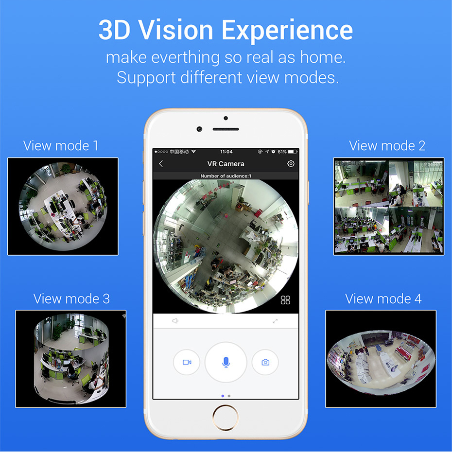 H.VIEW 360 CCTV Camera 720P IP Camera Wifi Cameras 960P Camara IP 1200TVL Fisheye Video Surveillance Cameras (7)