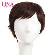 "UNA Human Hair Machine Wigs For Women Remy Human Hair 120% Density Straight Wigs 6""(China)"